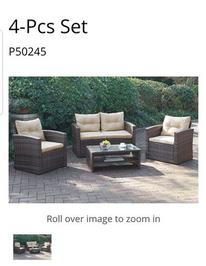 BRAND NEW PATIO 4PC SET LOVESEAT 2 CHAIRS AND TABLE NEW FURNITURE CLOSEOUTS LIQUIDATION ITEM for Sale in Riverside, CA