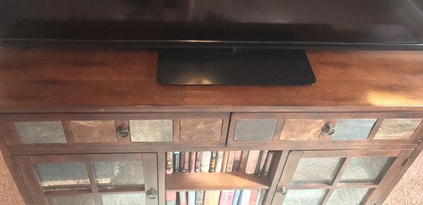 Wood and tile accent TV stand entertainment center
