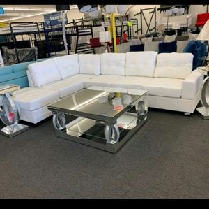 💥💥💥BRAND NEW WHITE FAUX LEATHER LIVING ROOM SECTIONAL WITH STORAGE OTTOMAN , COUCH / SAME DAY DELIVERY🚚 for Sale in Houston, TX