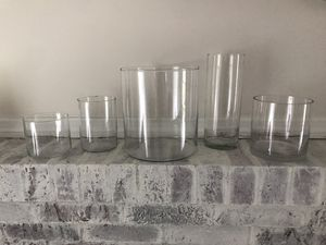 5 various sized hurricane vases / candle holders for Sale in Lake Park, NC