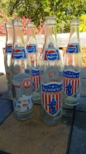 6 Kentucky bi-cenntenial Pespi bottles 1974-76 for Sale in Murray, KY