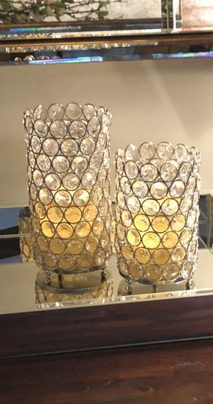Elegant Silver Gem Pillar Votive Candle Holders Set of 2 for Sale in Miami, FL