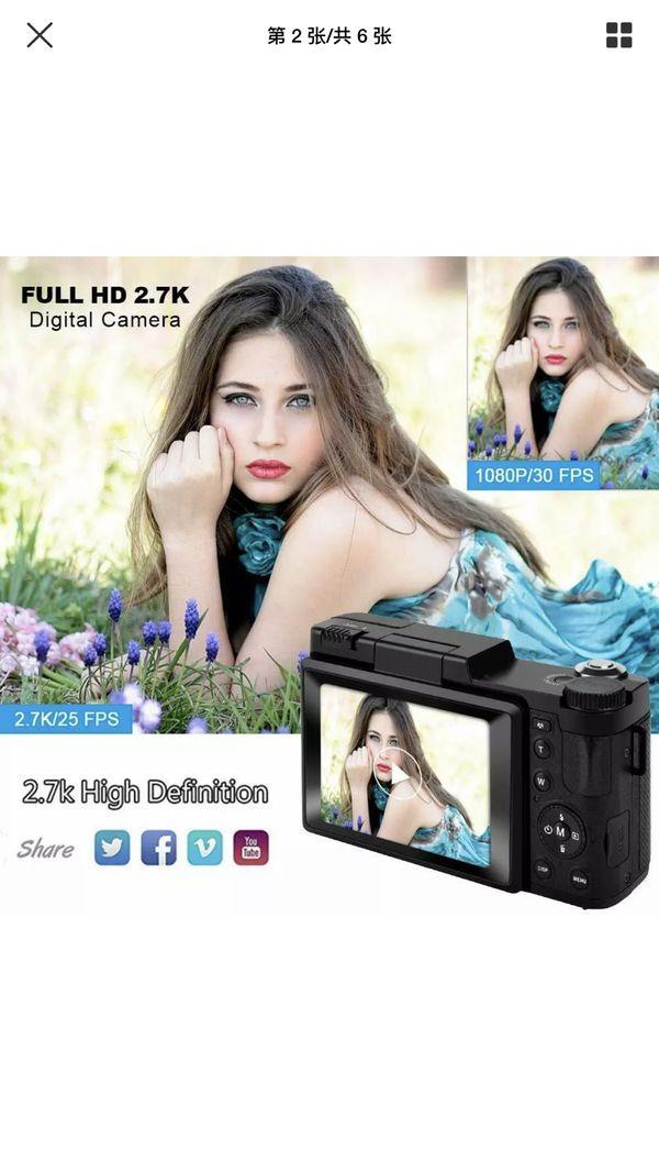 Digital Camera Vlogging Camera with Flip Screen for Youtube 24MP 2.7K (Black)