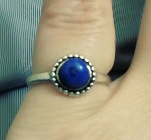 Dainty Silver Plated Blue Sandstone Ring Size 5 for Sale in Pico Rivera, CA