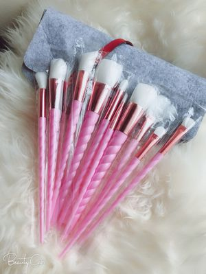 Pink unicorn makeup brushes with felt bag for Sale in Silver Spring, MD