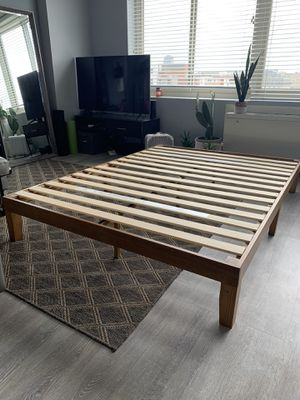 Queen Platform Bed - Rustic Pine Wood for Sale in Washington, DC