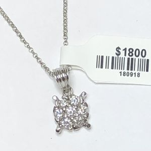 Diamond Pendant Custom Made 7 Diamonds 0.70 Carats 14 K White Gold 16 Inches Chain for Sale in Oakland Park, FL