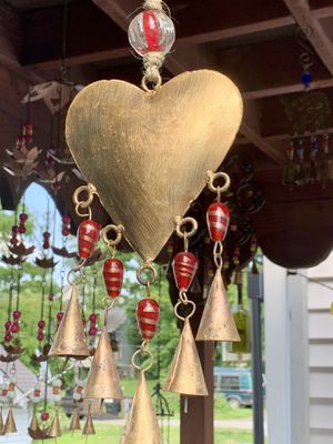 Brass Heart & Red Stained Glass Beads Cone Rustic Bells Wind Chime for Sale in Nashville, TN