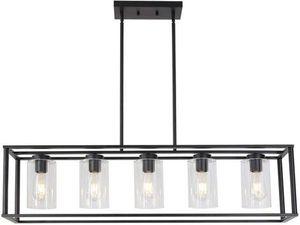 VINLUZ Contemporary Modern Chandeliers Rectangle Black 5 Light Dining Room Lighting Fixtures Hanging for Sale in Ontario, CA
