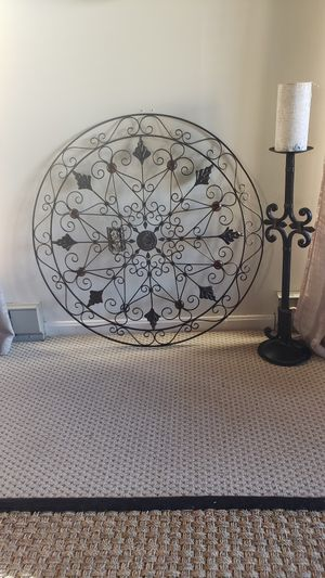 Wall Decor Extra Large Metal Medallion and Candle holder for Sale in Clinton, MD