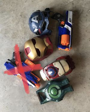 Variety of superhero mask and guns for Sale in Pearland, TX