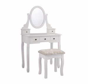 5 Drawers Vanity Table Set with Mirror and Cushioned Stool Makeup Dressing Table for Sale in La Mirada, CA