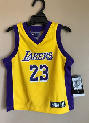 LOS ANGELES LAKERS LEBRON JAMES 23 NBA JERSEY TODDLER SIZE 4T for Sale in Fontana, CA