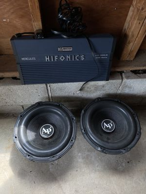 Audiopipe BD2 Subs and Hifronics 3000 watt amp for Sale in Lawrence, MA