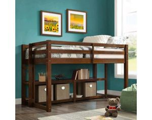 Loft bed frame with bookcase for Sale in Dallas, TX