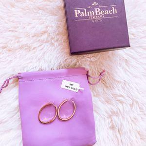 14k Gold Diamond Hoop Earrings . for Sale in Murrieta, CA