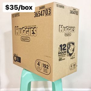 Size 4 Huggies Snug & Dry (192 diapers) - $35/box for Sale in Anaheim, CA