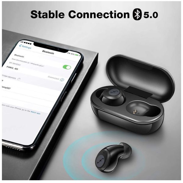 True Wireless Earbuds - Funcl Bluetooth Earbuds Wireless Headphones TWS in-Ear Earphones with 3D Stereo Hi-Fi Sound, Touch Control, Mic, Charging Case
