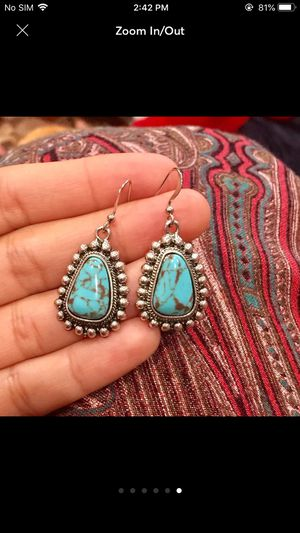 Sterling silver plated lab created turquoise earrings for Sale in Silver Spring, MD
