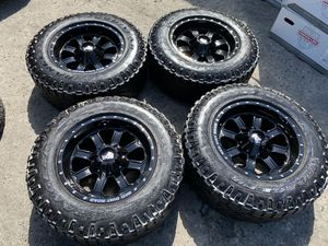 17x9 new gloss black rims with used Goodyear mud tires 6 lug Chevy gmc ford Toyota for Sale in Modesto, CA