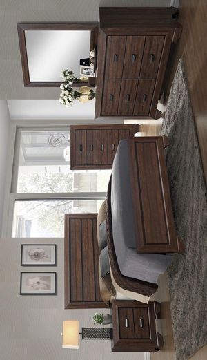 FREE DELIVERY 🚚 Farrow Chocolate Panel Bedroom Set with FREE CHEST&QUEEN BED, DRESSER, NIGHTSTAND, CHEST, MİROR# for Sale in Houston, TX