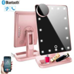 Makeup Mirror with Bluetooth,Removable 10x Magnification,Rechargeable Touch Dimmable Vanity Mirror