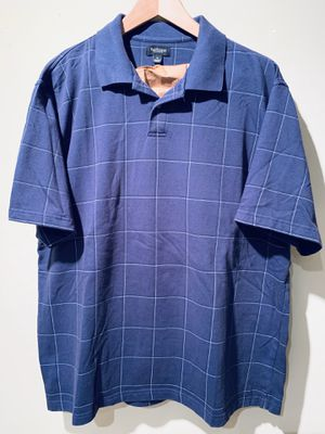 Van Heusen Men XL Golf Polo Shirt NAVY BLUE Checkered Short Sleeve Plaid for Sale in Lisle, IL
