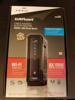 ARRIS Surfboard SBG6580-2 8x4 DOCSIS 3.0 Cable Modem/Wi-Fi N600 (N300 2.4Ghz + N300 5GHz) Dual Band Router - Retail Packaging Black (570763-034-00) for Sale in Hayward, CA