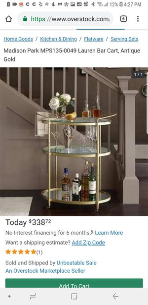 A2 - Madison Park MPS135-0049 Lauren Bar Cart, Antique Gold for Sale in Orange, CA