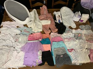 HUGE baby girl lot clothes, coats, bath, carrier, breast pump for Sale in Stanwood, WA