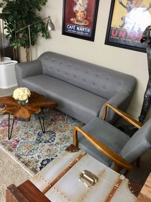 Mid century modern tufted Grey upholstered sofa & chair retail $1300 for Sale in San Diego, CA