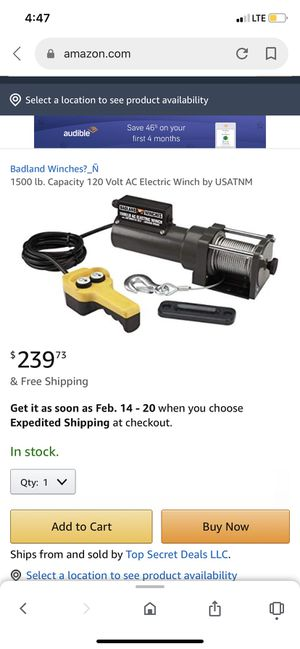 Badlands winch's 1500lb capacity 120volt ac electric winch it's brand new never used for Sale in Lamont, CA