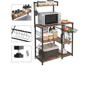 Baker's Rack, Coffee Station, Microwave Oven Stand, Kitchen Shelf with Wire Basket, 6 S-Hooks, Utility Storage for Spices, Pots, and Pans, Rustic Brow for Sale in Rancho Cucamonga, CA