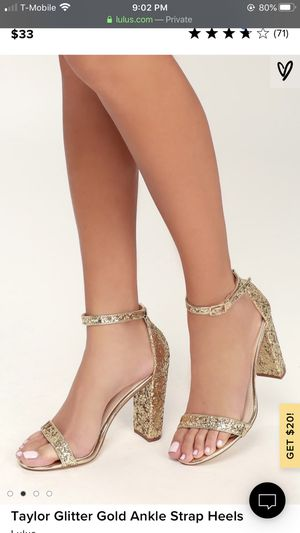 Glitter Gold Ankle Strap Heels for Sale in Westminster, CA