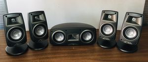 Set of 5 Klipsch Quintet III Speakers Black on Stand QUIN3BK for Sale in Temecula, CA