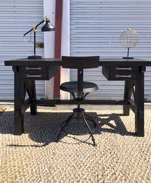 Farmhouse black desk & world market adjustable chair set for Sale in San Diego, CA
