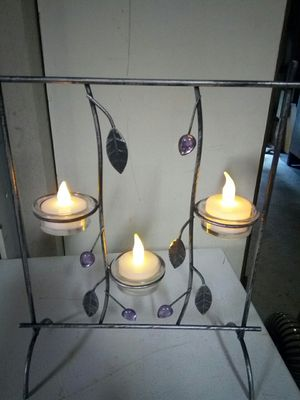 New metal with pink gems tea light holder for Sale in Puyallup, WA