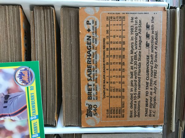 Baseball card collection with vintage 1987 card case tops score etc. some football cards also