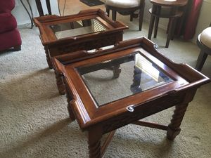 Two wood and glass tables for Sale in Frisco, TX