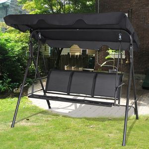 3 Person Porch Swing Bench Chair with Canopy Durable Steel Outdoor Living Space for Sale in Fremont, CA