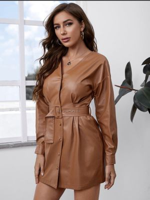 Buckle belted PU leather Dress for Sale in Queen Creek, AZ