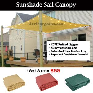 New 18x18 Square Sunshade Sail Patio Garden Pool Sun Screen Shade (ROPES AND HOOKS INCLUDED) for Sale in Riverside, CA