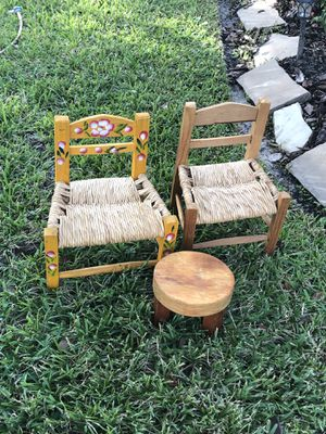 Country chairs and stool for teddy bear and or baby doll for Sale in Katy, TX