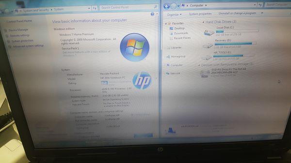 BAD BATTERY Hp 2000 laptop notebook computer AMD 3gb ram 320gb hdd