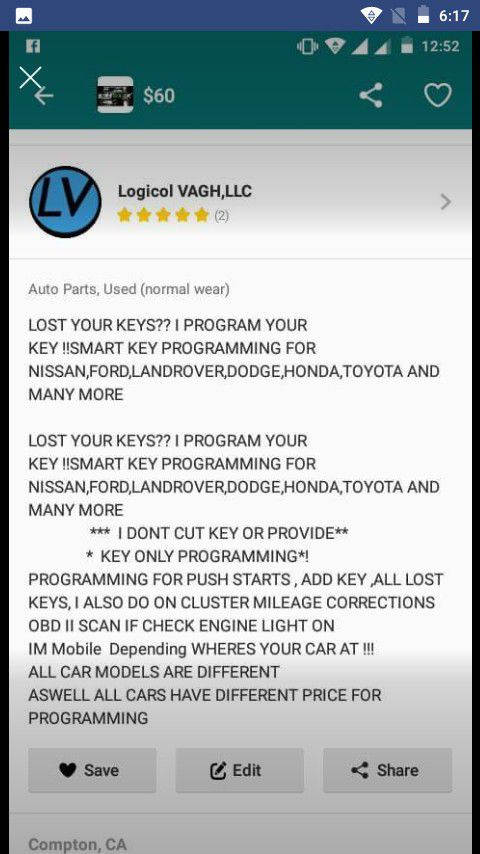 Car key programming for push start vehicles for Sale in Compton, CA -  OfferUp