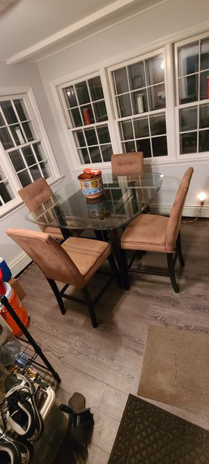Glass top table and 4 chairs for Sale in Scotch Plains, NJ