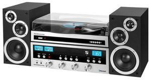 Innovative Technology - Classic CD 50W Stereo System with Bluetooth and USB Turntable - Silver for Sale in Belleville, IL