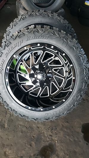 20x12 monster rims 6 lug 6x139 6x135 whit New MUD tires 33 1250 20 for Sale in Phoenix, AZ