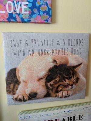 Just a brunette & a blonde with an unbreakable bond puppy kitten canvas wall art for Sale in Manassas, VA