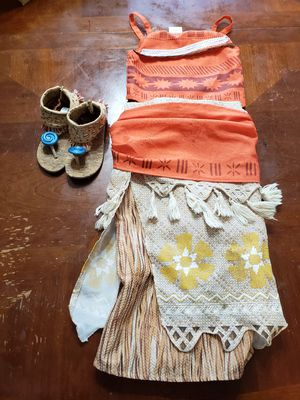 Moana costume and sandals from the Disney Store. Size 5/6 for Sale in Fort Worth, TX